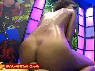 pretty Brazilian Luna Gives Footjob and Bathes in Pee Shower