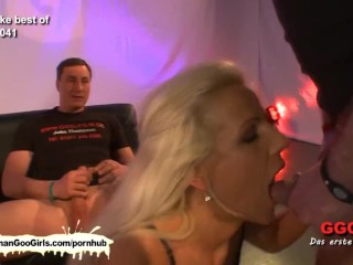 Bukkake and woman on chick action with brunette and blondy hotties